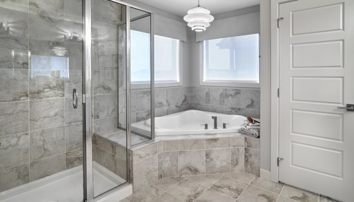 Saffron garden ii master ensuite bathroom new homes edmonton
