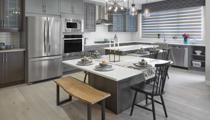 Sienna gourmet kitchen gray and white new home builder Edmonton